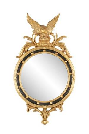 Federal Style Gilt Convex Mirror with Eagle Crest