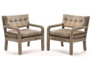 Pair Mid Century Gray Velvet Upholstered Armchairs