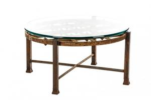 Industrial Cast Iron Glass Top Coffee Table