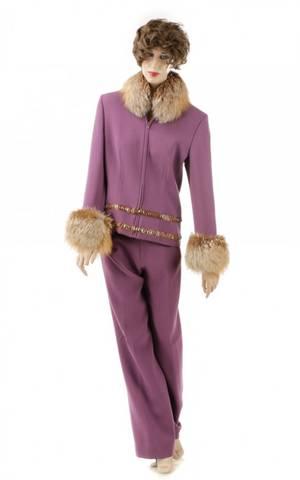 Gai Mattiolo Fur Trim Coat and Pants