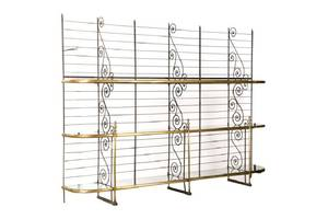 Large French Iron  Braass Mounted Bakers Rack