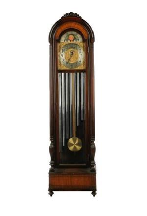 Herschede 9 Tube Mahogany Chiming Hall Clock