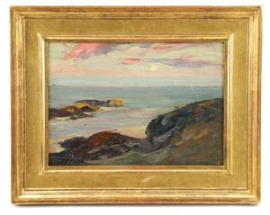 Charles Woodbury Sea  Coast Oil on Masonite