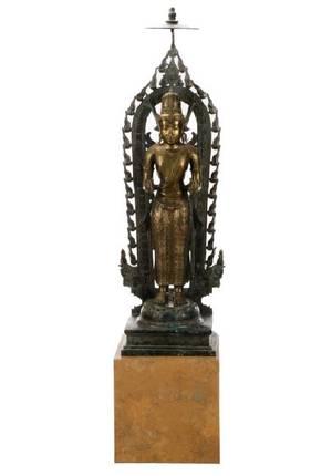 Fine Large Bronze Standing Quanyin Floor Sculpture