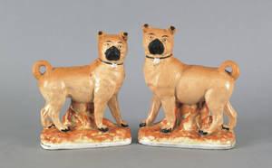Pair of English Staffordshire pug figures 19th c
