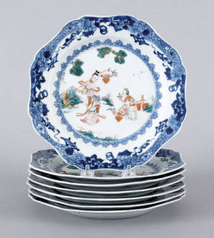 Set of seven Chinese export porcelain plates 18th c
