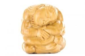 Balinese Carved Modern Figural Sculpture Signed