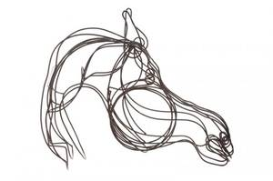 Large Enameled Wire Horse Head Sculpture