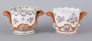 Two similar Chinese export porcelain famille rose cache pots late 18th c