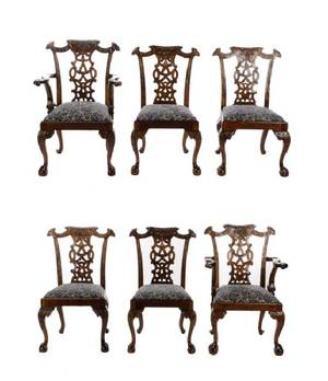 Set of 6 Mahogany Chippendale Style Dining Chairs