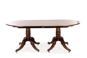Regency Style Mahogany Twin Pedestal Dining Table