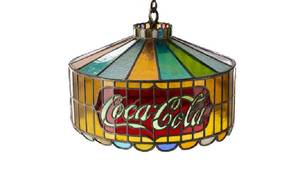 Coca Cola Stained and Leaded Glass Chandelier