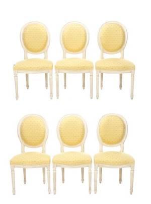 Set of 6 French White Louis XVI Style Chairs