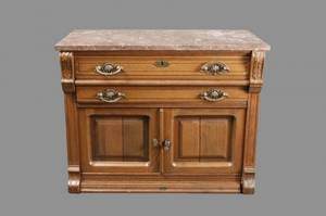 Eastlake Style Oak Side Cabinet or Chest