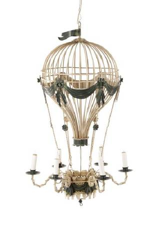 Polychromed Tole  Wire Hot Air Balloon Chandelier