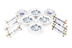 Group of Blue Onion Porcelain Table Articles
