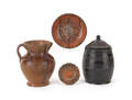 Four pieces of redware