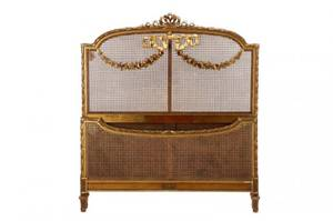 Louis XV Style Caned Giltwood Head and Foot Boards