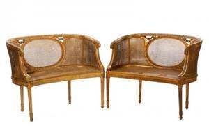 Pair of Louis XVI Style Giltwood Bergere Settees