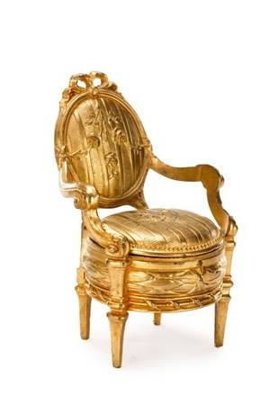French Gilt Bronze Fauteuil Form Casket Box