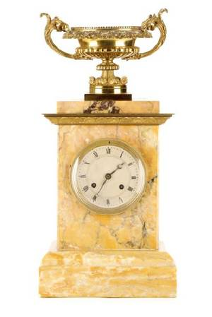 Neoclassical Style Gilt and Marble Mantle Clock
