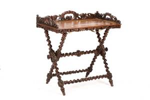 French Carved Oak Barley Twist Tray on Stand
