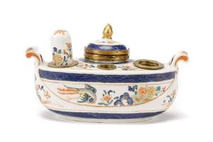 French Porcelain Encrier Inkwell w Chantilly Mark