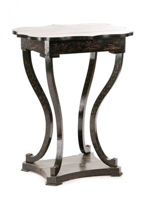 Turquerie Motif Black Lacquered Sewing Stand