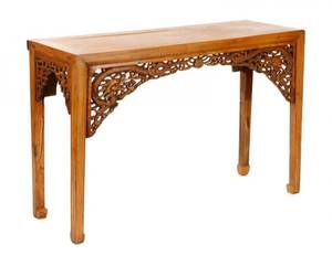 Chinese Carved Wood Console Table 19th C