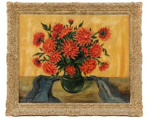 American School Floral Still Life with Dahlias