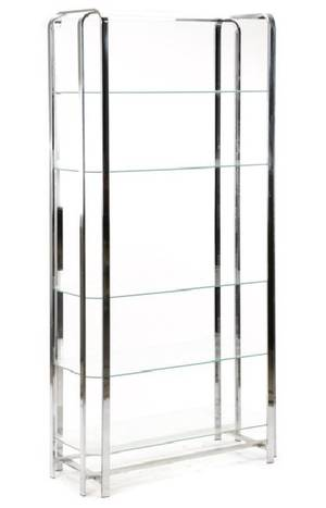 Mid Century Modern Chromed Steel  Glass Etagere