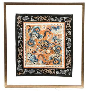 Chinese Silk Embroidery Textile Panel Framed