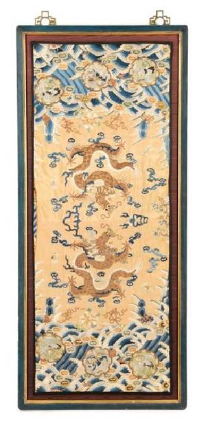 Chinese Silk Embroidery Panel of Imperial Dragons