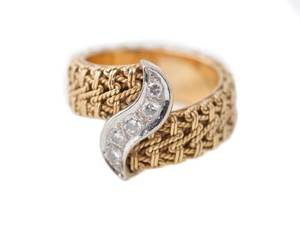 Custom 14k Yellow Gold Rope Style Diamond Ring