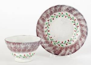 Purple spatter cup and saucer 19th c
