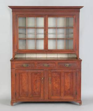 Pennsylvania walnut twopart Dutch cupboard ca 1800