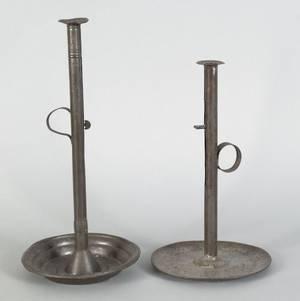 Two large tin pushup candlesticks 19th c