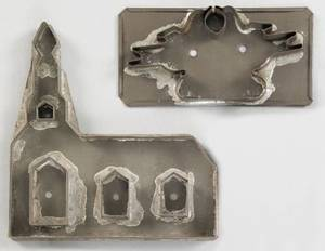 Two tinned sheet iron cookie cutters 19th c