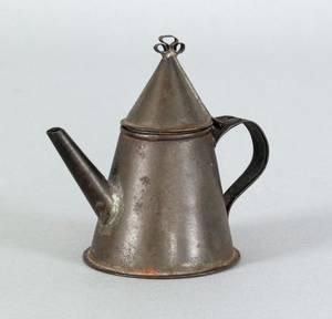 Miniature Pennsylvania tin coffee pot 19th c