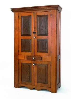 Pennsylvania poplar and oak cupboard