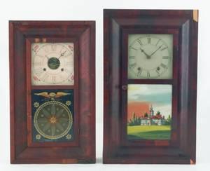 Two Empire mahogany mantle clocks