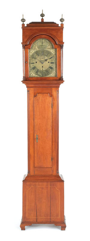 Pennsylvania Queen Anne cherry tall case clock ca 1760