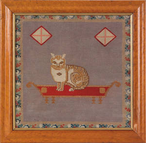 Victorian wool needlework of a cat 19th c