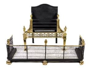 A Neoclassical Brass Fire Fender and Fireplace Grate