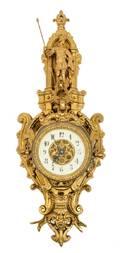 A Neoclassical Gilt Bronze Cartel Clock