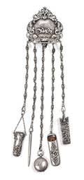 A Victorian Silver Chatelaine and Accessories