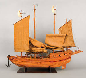 Carved model of a Chinese junk ca 1935