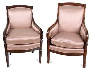A Pair of Directoire Style Mahogany Bergeres