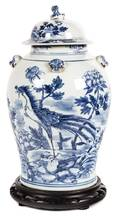 A Chinese Export Blue and White Porcelain Covered Jar