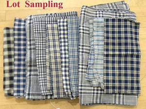 Large group of blue and white checked homespun and cotton 19th c